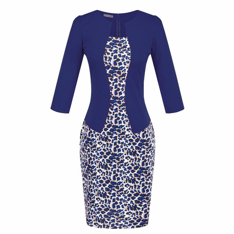 Платье пиджак-обманка синий(электрик)с принтом повседневное офисное р.44-46