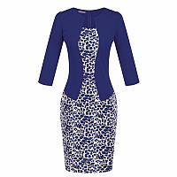 Платье пиджак-обманка синий(электрик)с принтом повседневное офисное
