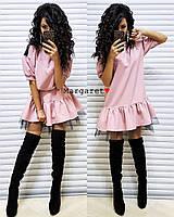 Женское красивое платье костюмка и фатин (3 цвета)