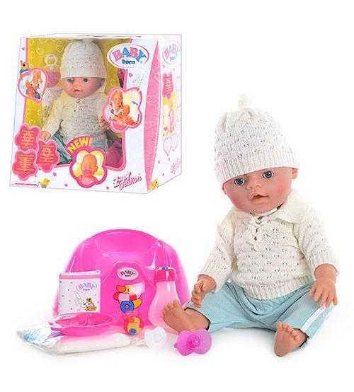 Кукла Пупс (Вaby Born-копия) зима, белая, арт. 8001-10
