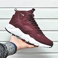 Мужские кроссовки Nike Air Huarache High с термоноском красный цвет (Реплика AAA+)