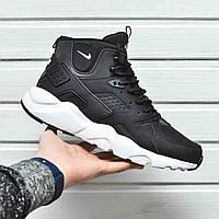 Мужские кроссовки Nike Air Huarache High с термоноском черно-белый цвет (Реплика AAA+)