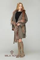 Пальто шерсть с мехом капучино