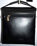 Мужская каштановая кожаная сумка барсетка на плечо 21*24 см, фото 3