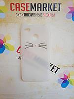 Объемный 3D силиконовый чехол для Xiaomi Redmi 4x Усатый кот белый