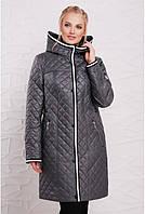 Женское пальто из стеганой плащевой ткани полу прилегающего силуэтаразмеры 50-52-54-56-58-60