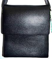 Мужская черная кожаная сумка барсетка через плечо 21*24 см