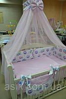 """Детский постельный комплект  Asik из 8 эл """"Цветные совы на белом с розовым горошком"""" №220 , розовый, фото 1"""