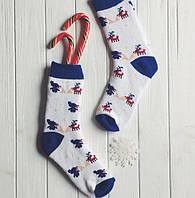"""Носки унисекс """"Christmas tale"""" белые с синим"""