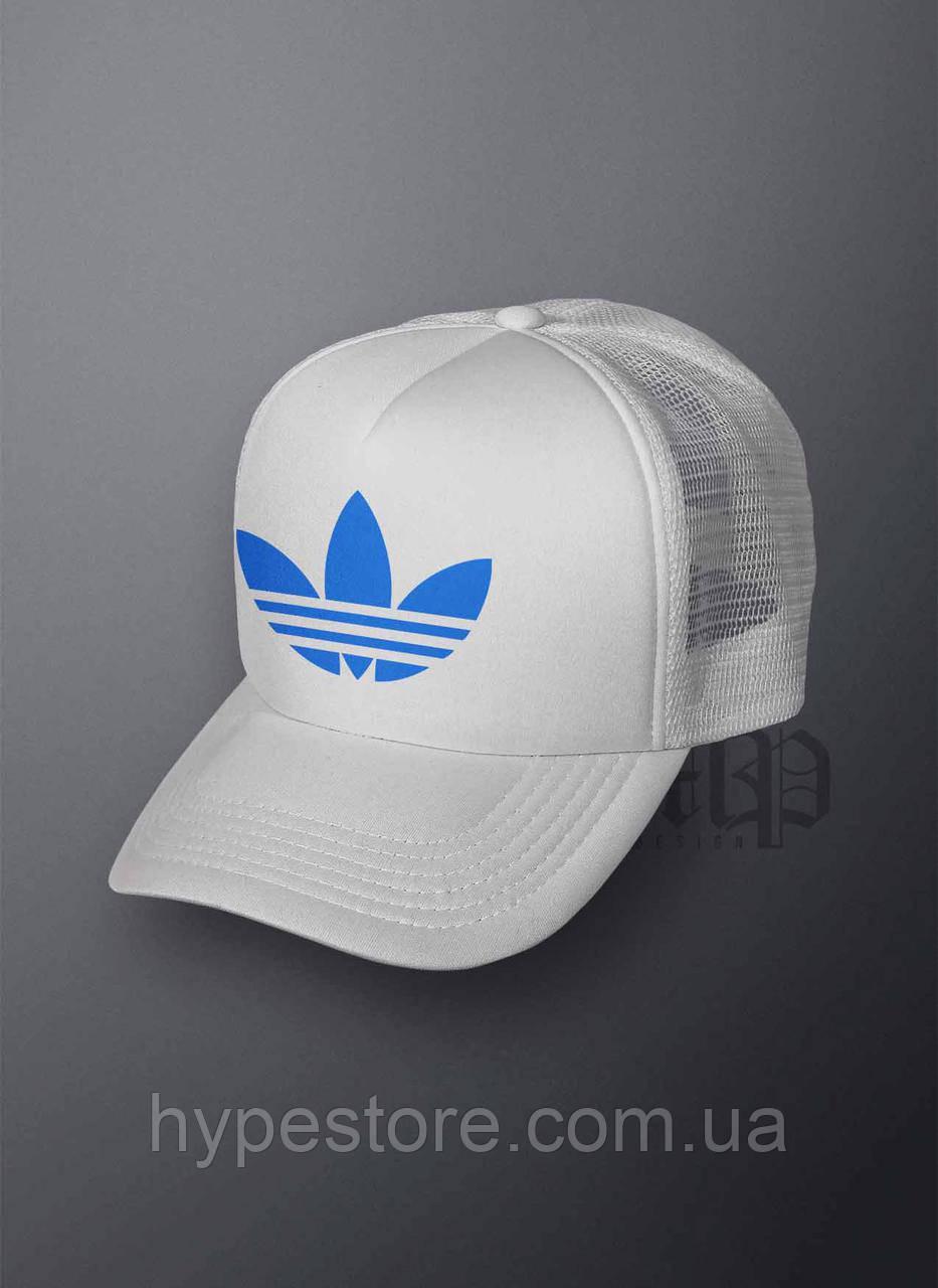 Кепка, бейсболка Adidas (голубой лого), Реплика