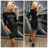 Облегающее платье с кожей 306 БА