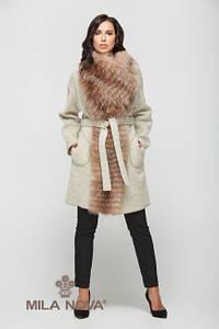 Пальто шерсть с мехом бежевое