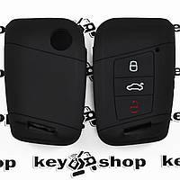 Чехол (черный, силиконовый) для смарт ключа Volkswagen (Фольксваген) 3 кнопки