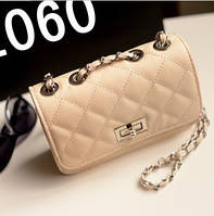 Женская маленькая сумочка на цепочке бежевая опт, фото 1
