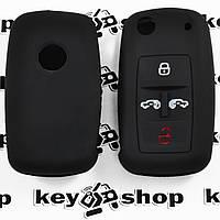 Чехол (черный, силиконовый) для выкидного ключа Volkswagen Transporter(Фольксваген Транспортер) 4 кнопки