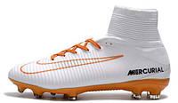 Футбольные бутсы Nike Mercurial Superfly V FG ACC Soccer Boots White Orange (Найк) с носком белые
