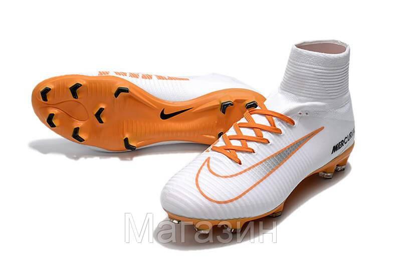 4ae8cae6 Футбольные бутсы Nike Mercurial Superfly V FG ACC Soccer Boots White Orange  (Найк) с носком белые, цена 1 624 грн., купить в Киеве — Prom.ua  (ID#641249114)