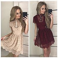 Короткое гипюровое платье с пышной юбкой 387 БА, фото 1