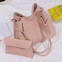 Женская большая сумка и клатч набор розовый