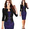 Платье пиджак-обманка сирень принт с кружевом   повседневное офисное Все размеры в наличии!