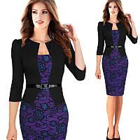 Платье пиджак-обманка сирень принт с кружевом повседневное офисное Все размеры в наличии