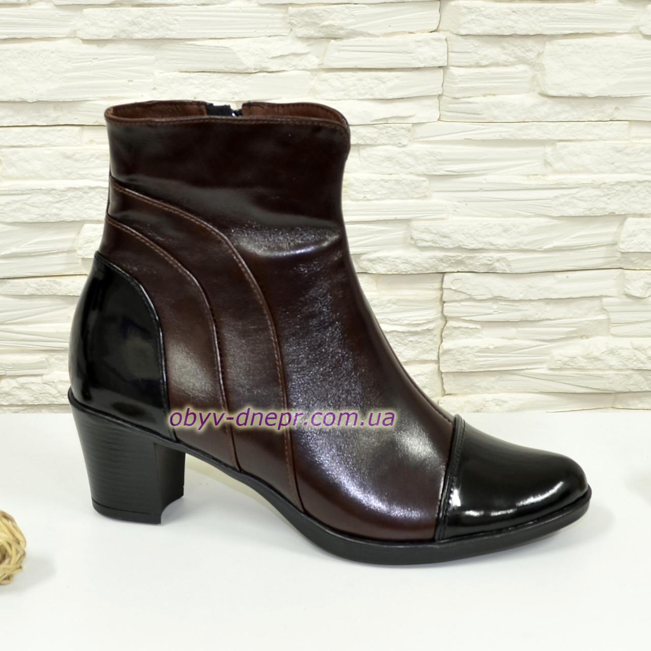 Женские зимние ботинки на невысоком каблуке, цвет коричневый/черный