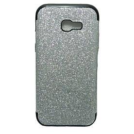 Чехол накладка для Samsung Galaxy A5 2017 A520 силиконовый блестящий, Glamour Case, серебристый