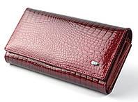 Женский кожаный кошелек ST с визитницей лаковый, фото 1
