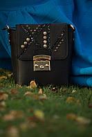 Черна кожаная сумка, клатч, со стразами