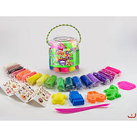 Тісто набір маси для ліплення Master Do, 18 кольорів у відрі, з аксесуарами, Danko Toys