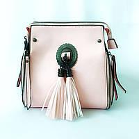 Розовая кожаная сумка кросс-боди, крос боди с бахромой