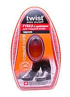 Губка с дозатором для обуви из гладкой кожи Большая Twist (цвет чёрный)