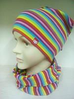 Комплект для девочки трикотажная шапка и снуд TuTu 3-003626/3-003693