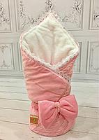 "Зимний вязанный конверт-одеяло  ""Дуэт"" (подклад махра) розовый, фото 1"