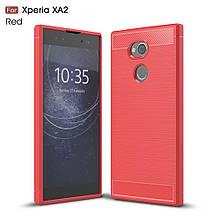 Чехол накладка TPU Fiber Carbon для Sony Xperia XA2 красный