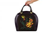 Женская кожаная сумка с вышивкой ROOMY FLOWER от ПЕКОТОФ