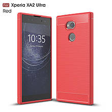 Чехол накладка TPU Fiber Carbon для Sony Xperia XA2 Ultra красный