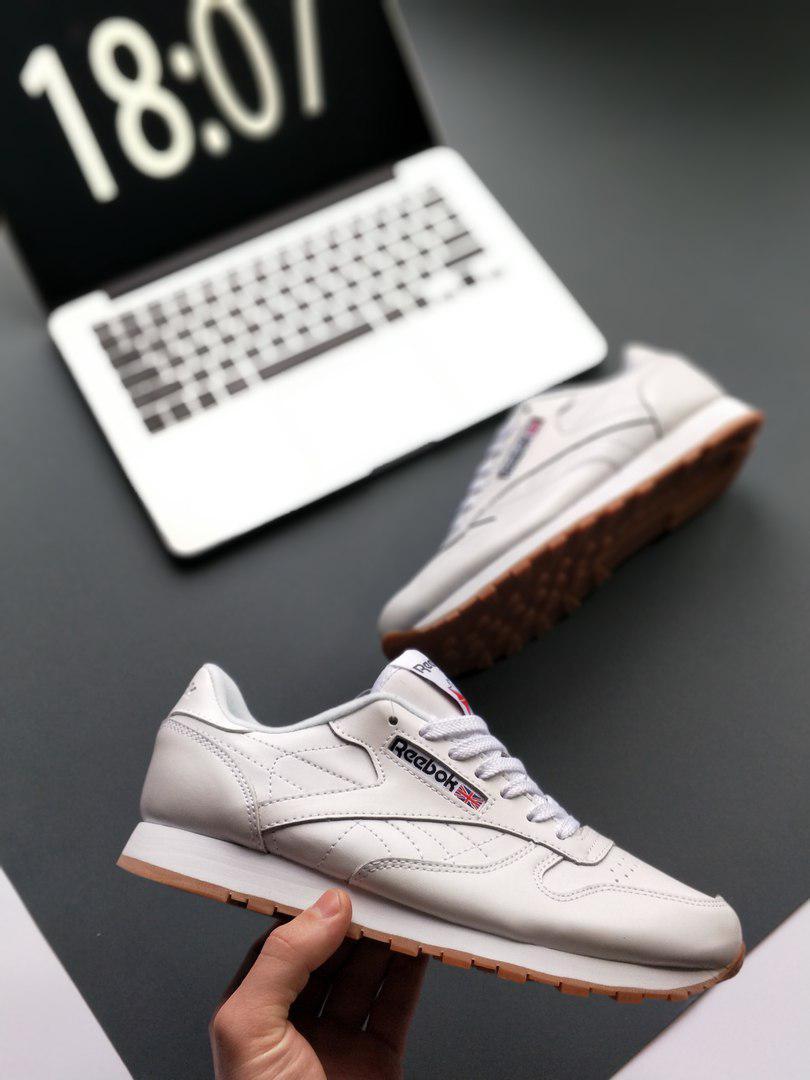 Женские кроссовки Reebok Classic Leather PM Pale Pink  , Копия