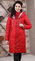 Пальто зимнее женское стеганое больших размеров красного цвета (44, 46, 48, 50, 52, 54, 56)