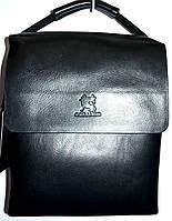 Мужская черная кожаная сумка барсетка через плечо 24*27 см