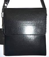 Мужская черная кожаная сумка барсетка через плечо 22*26 см