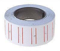 Ценники прямоугольные 12*21мм белый с красн.полосками 1000шт в рулоне