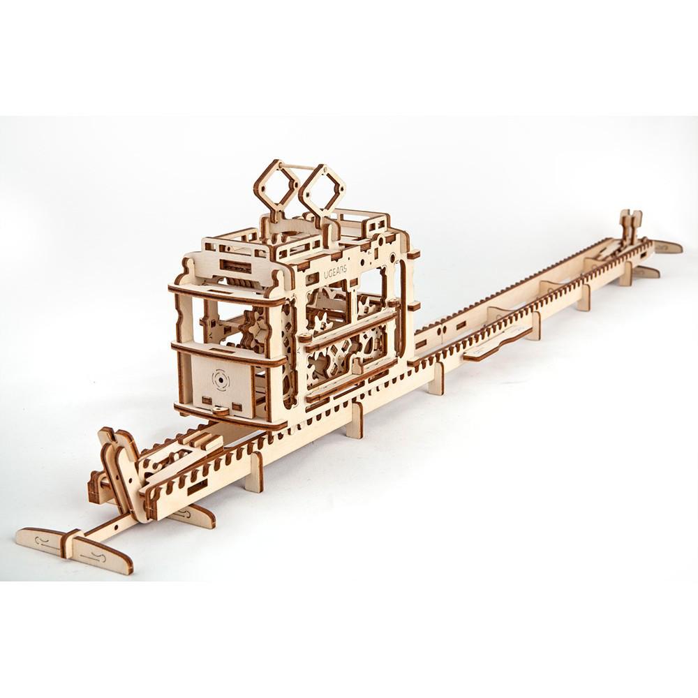 Механический 3D пазл - трамвай, Ukr-Gears (UGEARS), механический 3d пазл, 154 детали