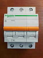 Автоматический выключатель 3 полюса 16А типа ВА63 серии «Домовой»