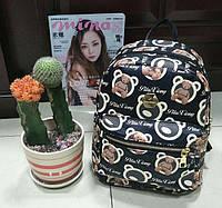Рюкзак городской дошкольный с мишками маленький черный GS132