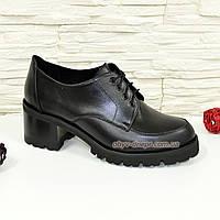 Туфли женские на невысоком каблуке, натуральная черная кожа.