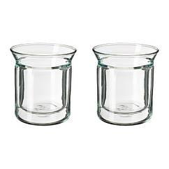 Кружка, двойная стена, прозрачное стекло, 15 сл IKEA AVRUNDAD 903.589.81