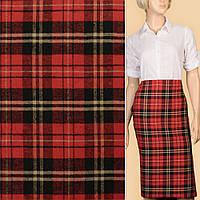 382267492 - Шотландка красная в черно-бежевую клетку-елочку ш.143