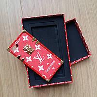 Чехол для Iphone 6 Louis Vuitton Supreme красный в подарочной  коробке