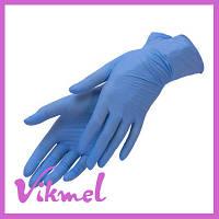 Перчатки нитриловые неопудренные синие, 1 пара, M